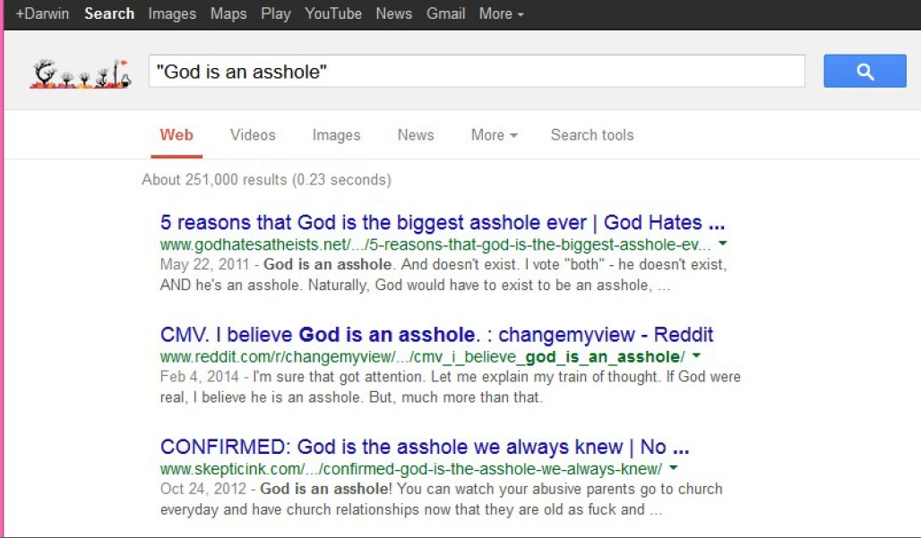 Google search for 'God is an asshole'