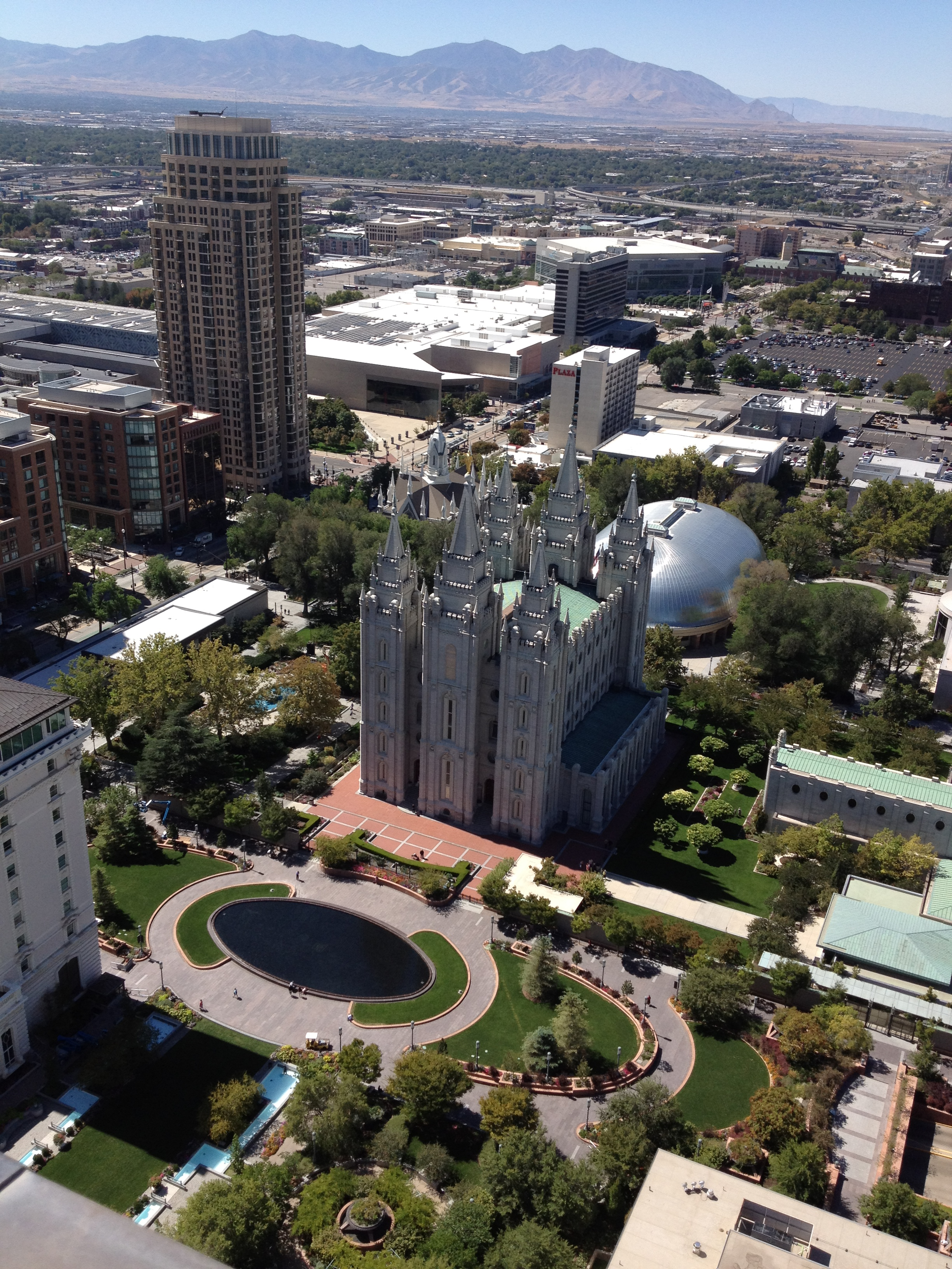 view of LDS Church temple from top of office tower