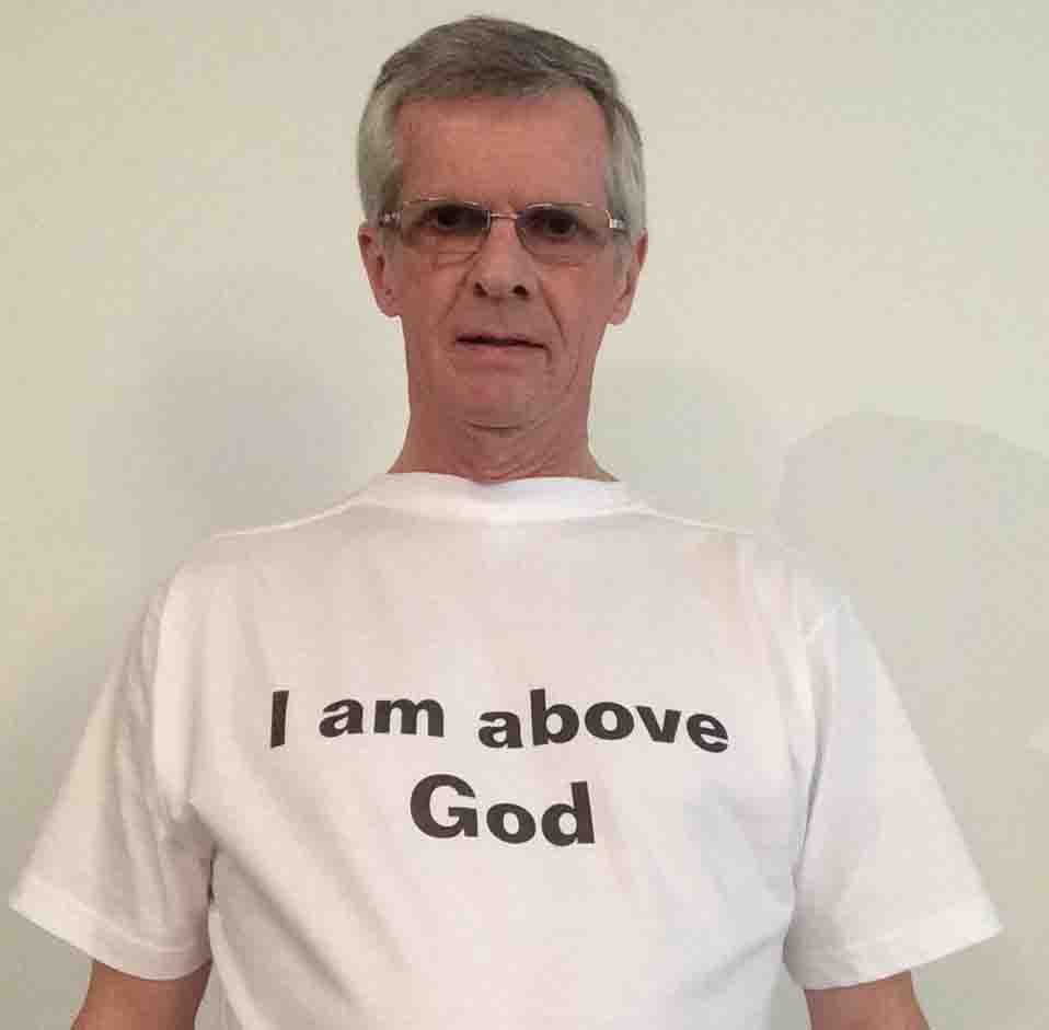 Darwin Bedford wearing his shirt that says 'I am above God'