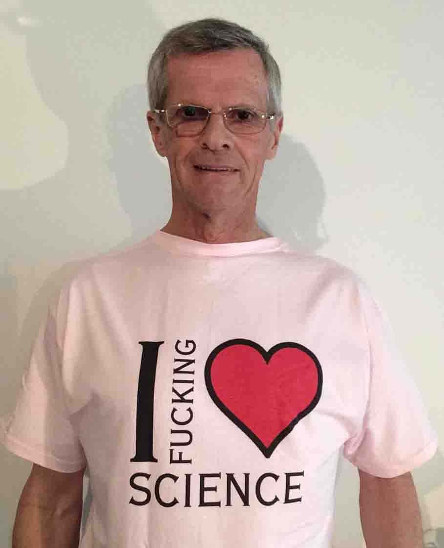 Darwin Bedford wearing his unofficial 'I fucking love science' shirt