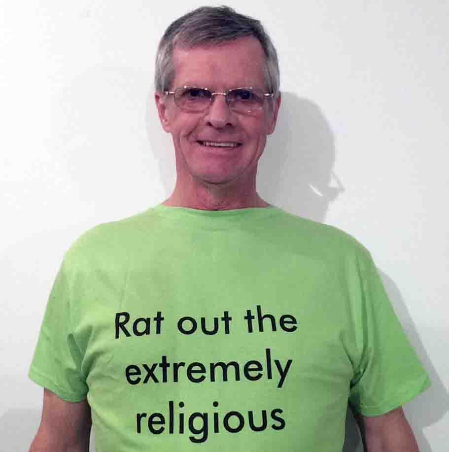 Darwin Bedford wearing his shirt that says 'Rat out the extremely religious'